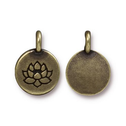 Lotus Charm, Oxidized Brass Plate, 20 per Pack