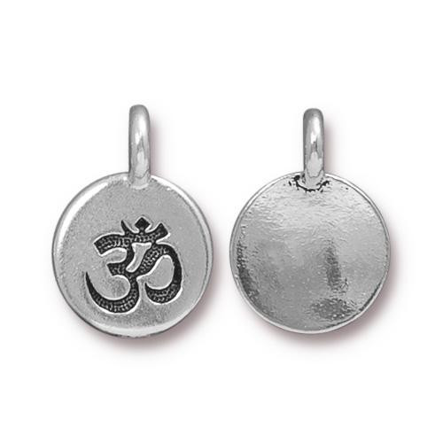 Om Charm, Antiqued Silver Plate, 20 per Pack