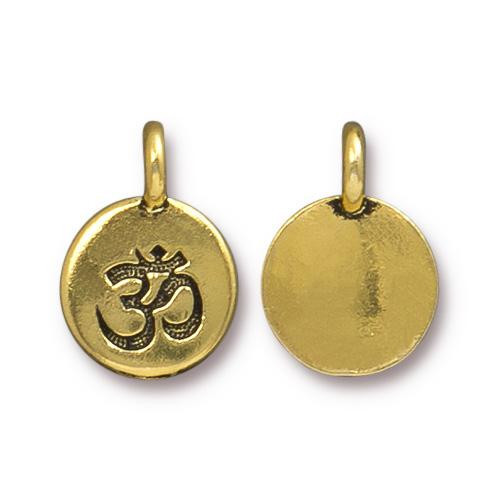 Om Charm, Antiqued Gold Plate, 20 per Pack