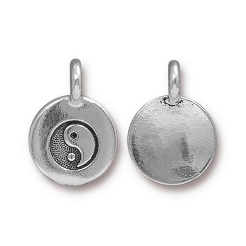 Yin Yang Charm, Antiqued Silver Plate, 20 per Pack