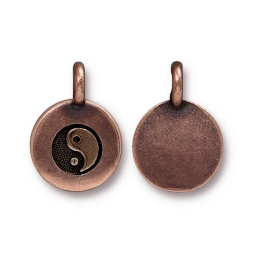 Yin Yang Charm, Antiqued Copper Plate, 20 per Pack