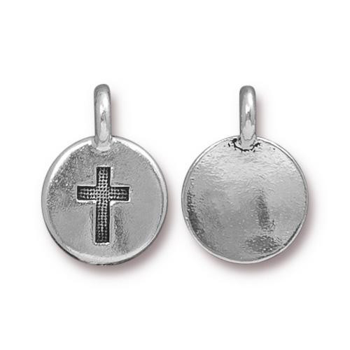 Cross Charm, Antiqued Silver Plate, 20 per Pack
