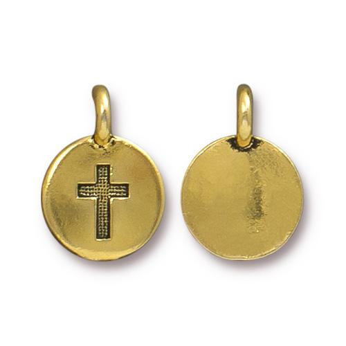 Cross Charm, Antiqued Gold Plate, 20 per Pack