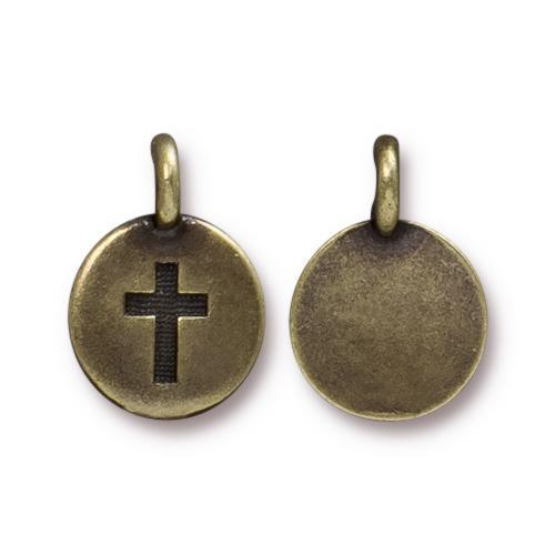 Cross Charm, Oxidized Brass Plate, 20 per Pack
