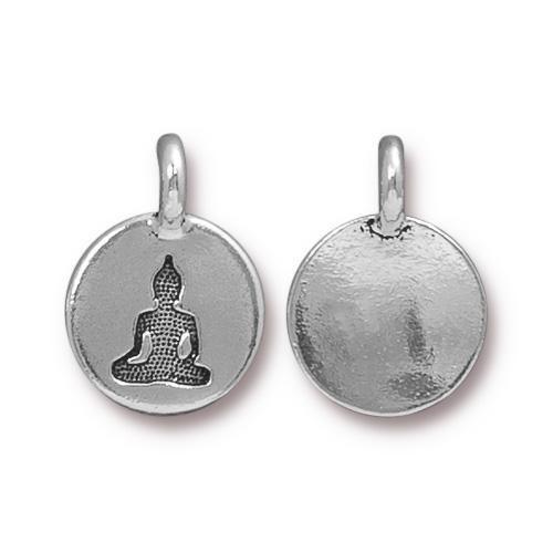 Buddha Charm, Antiqued Silver Plate, 20 per Pack