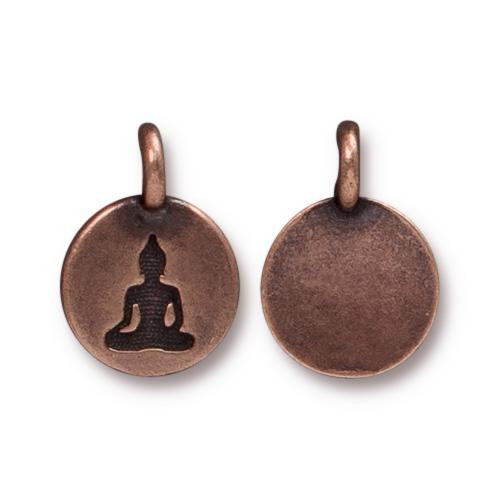 Buddha Charm, Antiqued Copper Plate, 20 per Pack