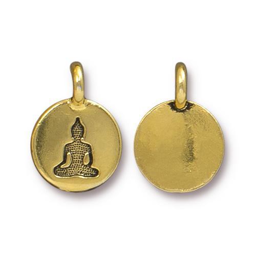 Buddha Charm, Antiqued Gold Plate, 20 per Pack