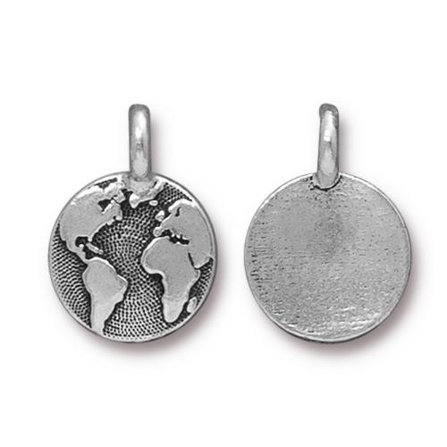 Earth Charm, Antiqued Silver Plate, 20 per Pack