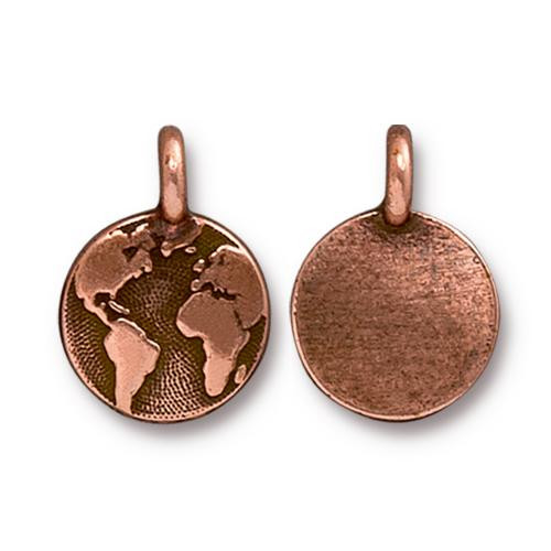 Earth Charm, Antiqued Copper Plate, 20 per Pack