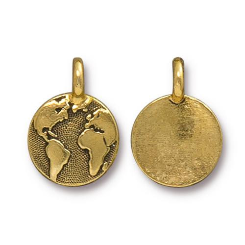Earth Charm, Antiqued Gold Plate, 20 per Pack