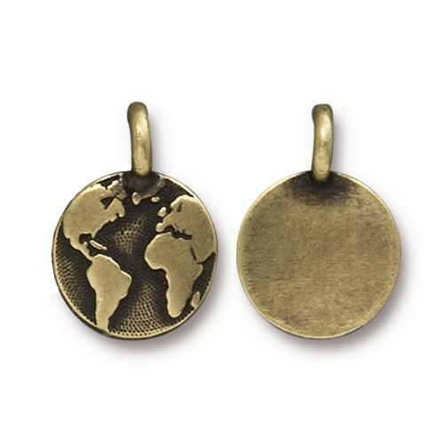 Earth Charm, Oxidized Brass Plate, 20 per Pack