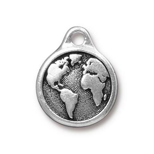 Earth Day Charm, Antiqued Silver Plate, 10 per Pack