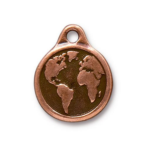 Earth Day Charm, Antiqued Copper Plate, 10 per Pack