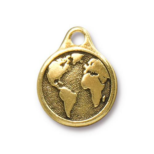 Earth Day Charm, Antiqued Gold Plate, 10 per Pack
