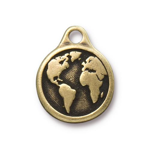 Earth Day Charm, Oxidized Brass Plate, 10 per Pack