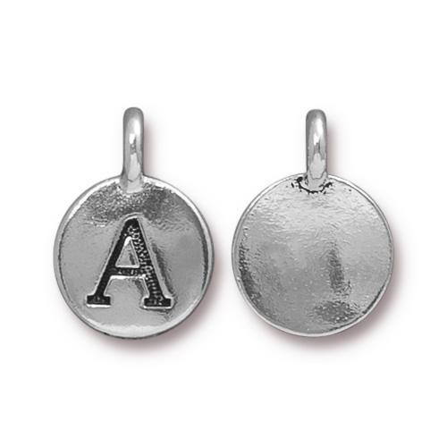 A Alphabet Charm, Antiqued Silver Plate, 10 per Pack