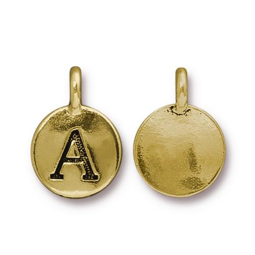 A Alphabet Charm, Antiqued Gold Plate, 10 per Pack