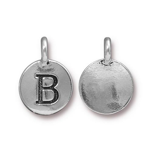 B Alphabet Charm, Antiqued Silver Plate, 10 per Pack