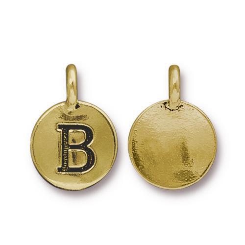 B Alphabet Charm, Antiqued Gold Plate, 10 per Pack