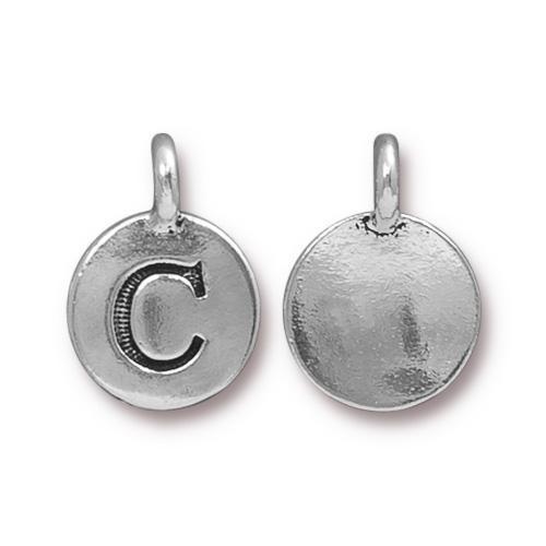 C Alphabet Charm, Antiqued Silver Plate, 10 per Pack