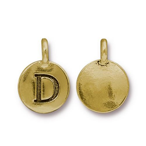 D Alphabet Charm, Antiqued Gold Plate, 10 per Pack