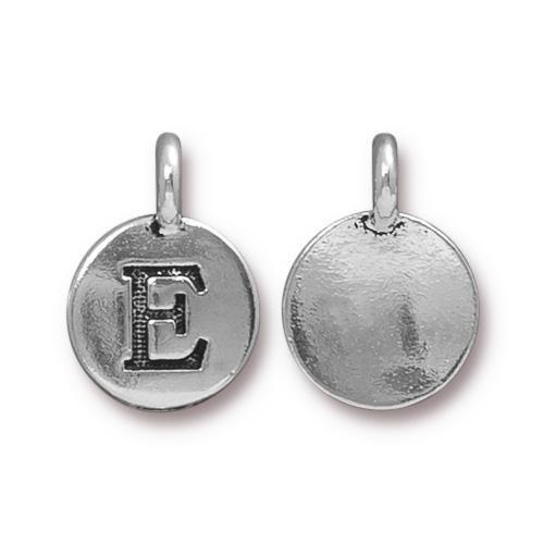 E Alphabet Charm, Antiqued Silver Plate, 10 per Pack