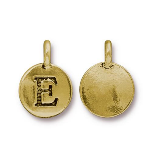 E Alphabet Charm, Antiqued Gold Plate, 10 per Pack