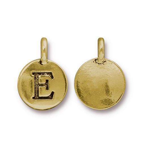 E Alphabet Charm, Antiqued Gold Plate, 10 per Pack
