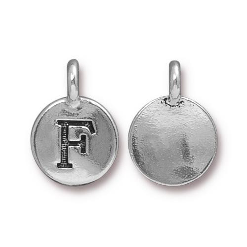 F Alphabet Charm, Antiqued Silver Plate, 10 per Pack