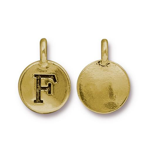 F Alphabet Charm, Antiqued Gold Plate, 10 per Pack