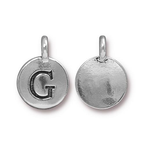 G Alphabet Charm, Antiqued Silver Plate, 10 per Pack