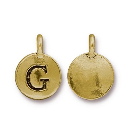 G Alphabet Charm, Antiqued Gold Plate, 10 per Pack