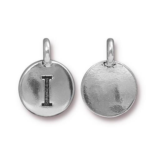 I Alphabet Charm, Antiqued Silver Plate, 10 per Pack