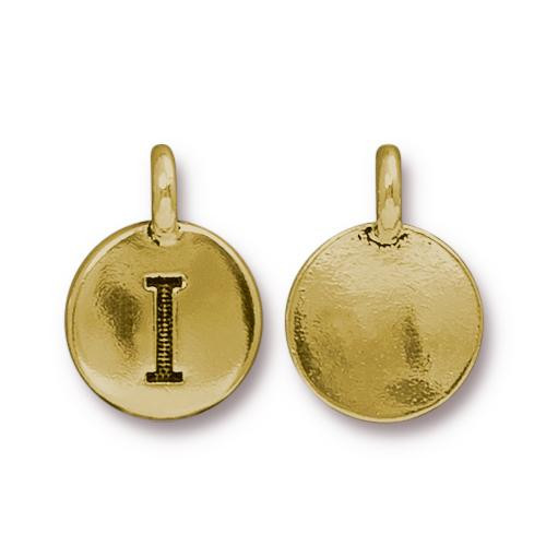 I Alphabet Charm, Antiqued Gold Plate, 10 per Pack