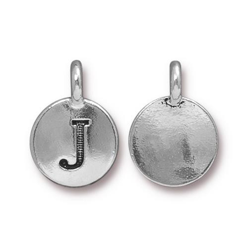 J Alphabet Charm, Antiqued Silver Plate, 10 per Pack