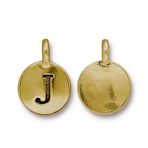 J Alphabet Charm, Antiqued Gold Plate, 10 per Pack