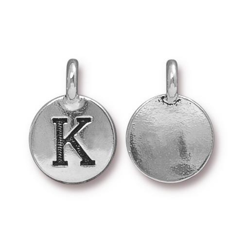 K Alphabet Charm, Antiqued Silver Plate, 10 per Pack