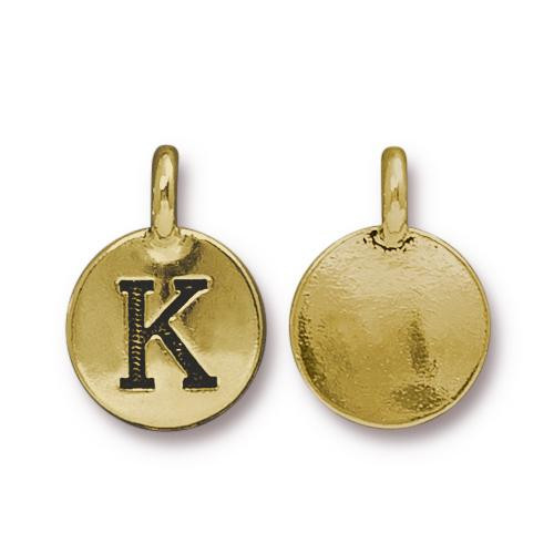 K Alphabet Charm, Antiqued Gold Plate, 10 per Pack