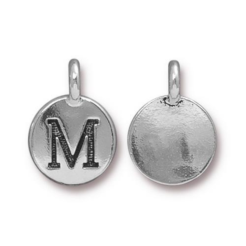 M Alphabet Charm, Antiqued Silver Plate, 10 per Pack