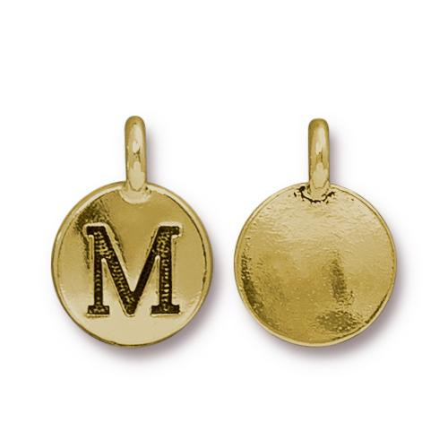 M Alphabet Charm, Antiqued Gold Plate, 10 per Pack