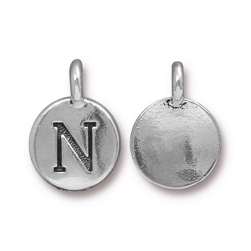 N Alphabet Charm, Antiqued Silver Plate, 10 per Pack