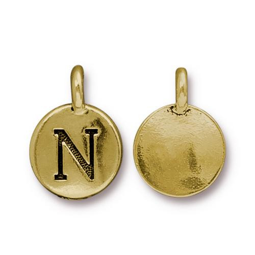 N Alphabet Charm, Antiqued Gold Plate, 10 per Pack