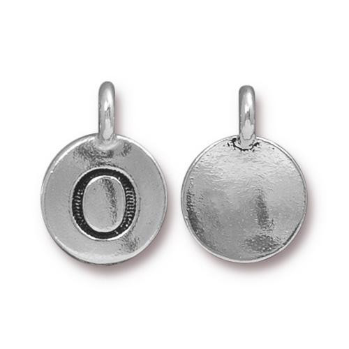 O Alphabet Charm, Antiqued Silver Plate, 10 per Pack