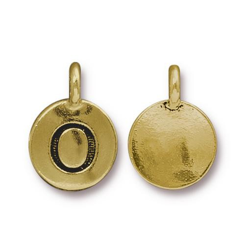 O Alphabet Charm, Antiqued Gold Plate, 10 per Pack