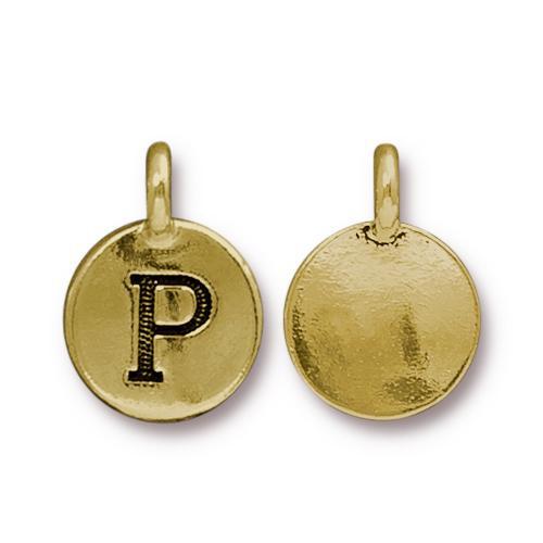 P Alphabet Charm, Antiqued Gold Plate, 10 per Pack