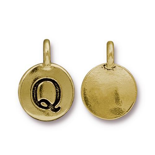 Q Alphabet Charm, Antiqued Gold Plate, 10 per Pack
