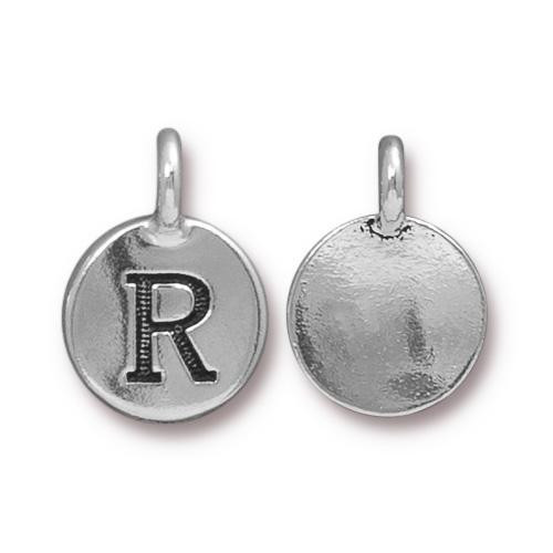 R Alphabet Charm, Antiqued Silver Plate, 10 per Pack