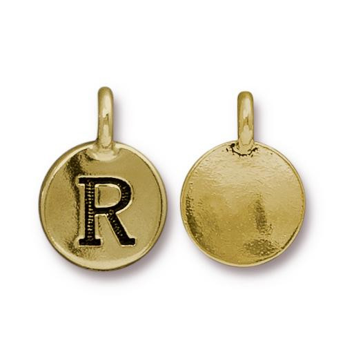 R Alphabet Charm, Antiqued Gold Plate, 10 per Pack