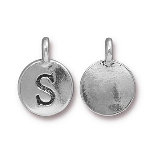 S Alphabet Charm, Antiqued Silver Plate, 10 per Pack