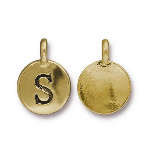 S Alphabet Charm, Antiqued Gold Plate, 10 per Pack